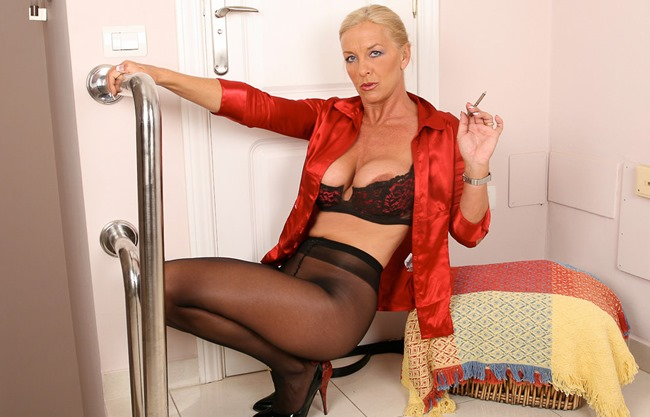 Astrid red lingerie smoking